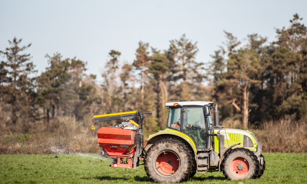 Spreading granular fertiliser