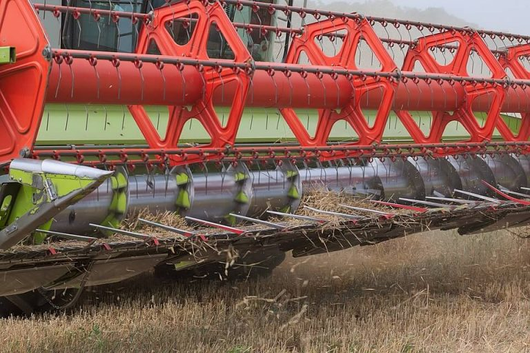 Close up of a combine harvester