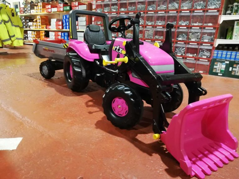 Pink rolly tractor for girls