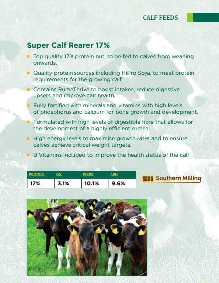 Infographic on Southern Milling calf feed
